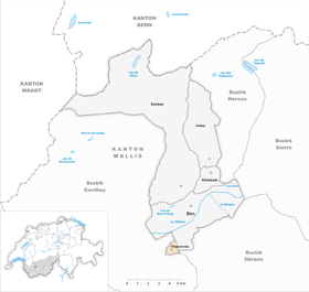 Karte Gemeinde Veysonnaz 2013