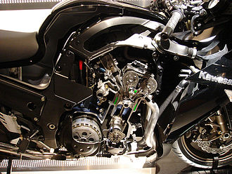 Kawasaki Ninja ZX-14 - 2006 ZZR1400 cutaway view of the aluminium monocoque frame and engine