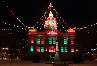 Minden, Nebraska - Christmas lights in Minden's courthouse square (2011)