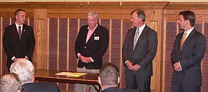 United States Senate election in Nebraska, 2014 - Buffalo County Republican Party candidate event in November 2013.  From left to right: Shane Osborn, Sid Dinsdale, Bart McLeay, and Ben Sasse.