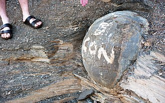 "Chippewas of Kettle and Stony Point First Nation - ""Kettle"" concretion at Kettle Point, Ontario, defaced by graffiti."