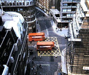 Box junction - A box junction in London, pictured from atop the Monument in 1969.