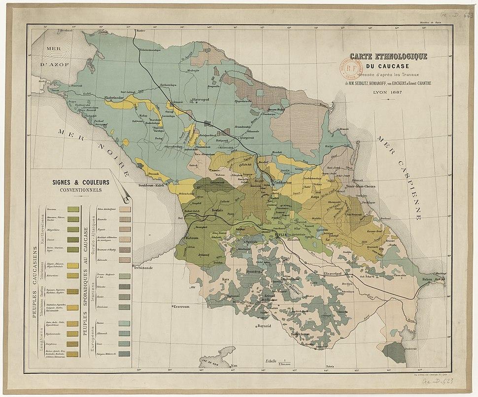 Komaroff. Carte ethnologique du Caucase, dressée. 1887