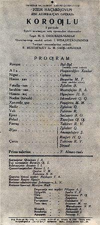 üzeyir hacıbeyli  köroğlu operası ile ilgili görsel sonucu