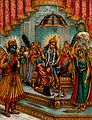 Krishna humbly standing before an enthroned Radha. Chromolit Wellcome V0045022.jpg