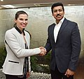 Kristy Duncan meeting the Minister of State for Youth Affairs and Sports (IC) and Information & Broadcasting, Col. Rajyavardhan Singh Rathore, in New Delhi.jpg