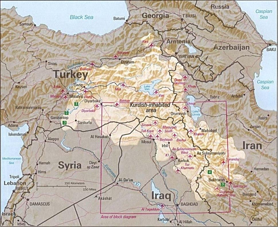 Kurdish-inhabited area by CIA (1992)