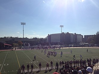 Kutztown Golden Bears - The Kutztown Golden Bears play East Stroudsburg in the 2013 Homecoming game at University Field (now Andre Reed Stadium)