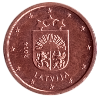 Latvian euro coins - Image: LV 1 cents