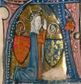 La reine en prière, entourée des armes de France et d'Angleterre.png