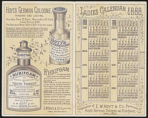 Calendar (stationery) - A free calendar from 1888 advertising medical products.