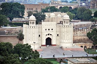 Lahore Fort - The fort, as seen from the northeast minaret of the Badshahi Mosque.