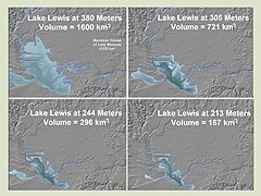 This figure shows four profiles of Lake Lewis at various flood levels. It illustrates that the lake back flooded several valleys in which the Touchet Beds were found.