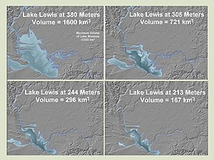 This photo shows four profiles of Lake Lewis at various flood levels. It illustrates that the lake back flooded several valleys in which the Touchet Beds were found.