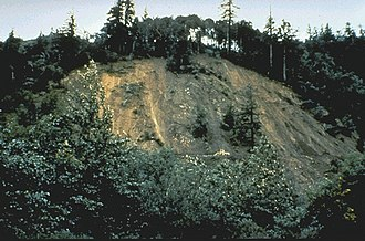 1992 Cape Mendocino earthquakes - A landslide west of Ferndale