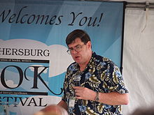 Bond at a book festival in Maryland during the mid-2010s.