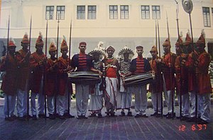 Lascarins - Reenactment of a Lascoreen Guard at Mount Lavinia Hotel in 1997