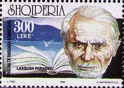 Lasgush Poradeci on a 1999 Albanian stamp