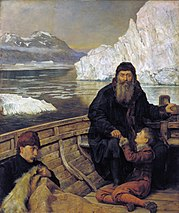 Henry Hudson, his son and crew members after they were abandoned by the mutineers.  Painting by John Collier