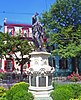 Statue of Lawrence the Indian, savior of Schenectady, NY, USA, at the center of the city's Stockade Historic District