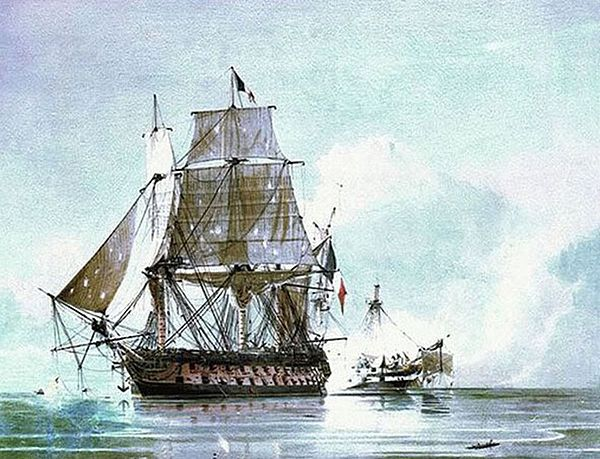 Action between H.M.S. Leander and the French National Ship Le Genereux, 18 August 1798, C. H. Seaforth Leander & Genereux.jpg