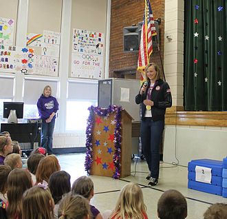 Katie Ledecky - Ledecky speaks to students at Rickard Elementary School in Williston, North Dakota.