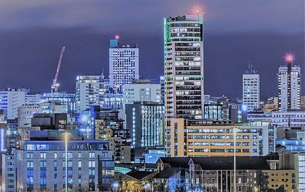 Central Business District at night. Leeds CBD at night.jpg