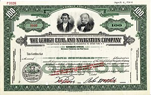 Lehigh Coal & Navigation Company - Lehigh Coal and Navigation Company Stock Certificate