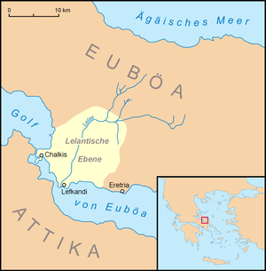 Lelantine War - Chalcis and Eretria on the Lelantine Plain. Ägäisches Meer = Aegean Sea; Euböa = Euboea; Lelantische Ebene = Lelantine Plain; Golf von Euböa = Gulf of Euboea; Attika = Attica.