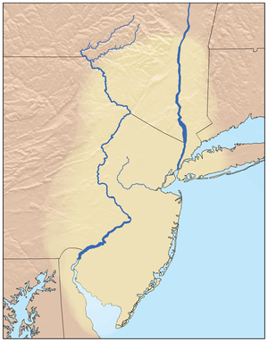 Map showing the Lenapehoking region traditionally occupied by the Lenape.