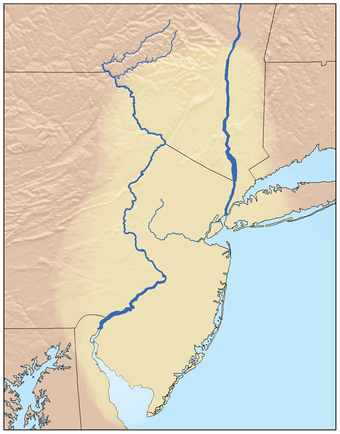 Traditional Confederations of Lenape lands, the Lenapehoking, not showing any of the several divisions governed by matriarchies Lenapehoking.png