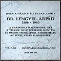 Lengyel Árpád plaque (Budapest-08 Rákóczi út 11).jpg