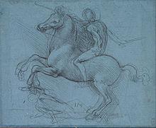 Leonardos Entwurf für das Sforza-Monument, 1489 (Quelle: Wikimedia)