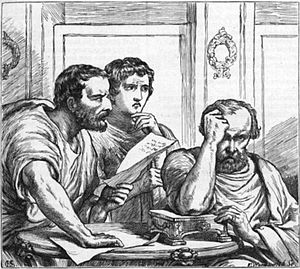 Marcus Aemilius Lepidus (triumvir) - Lepidus (right) browbeaten by Antony and Octavian. Illustration to Shakespeare's Julius Caesar by H. C. Selous.