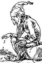 A leprechaun counts his gold, in this engraving circa 1900.