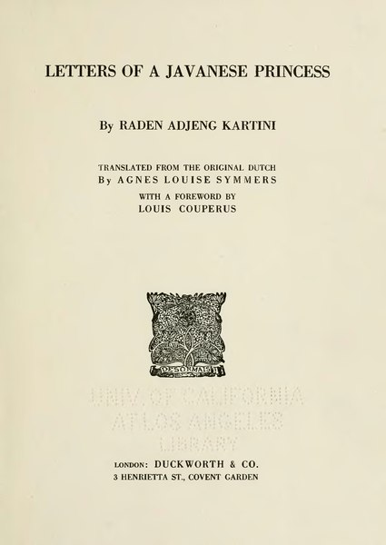 File:Letters of a Javanese princess, by Raden Adjeng Kartini, 1921.djvu