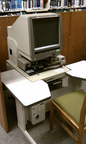 Microform - A microfiche reader in a library