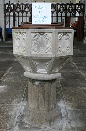 Lismore Cathedral, Ireland - Image: Lismore Carthages Cathedral Baptismal Font 2007 08 03