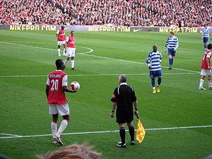 Johan Djourou - Djourou taking a throw in against Reading