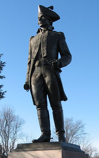 Loammi Baldwin - A statue of Loammi Baldwin in Woburn, Massachusetts which was repaired in the fall of 2007 to replace the missing sword and cleaned.