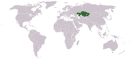 A map showing the location of Kazakhstan