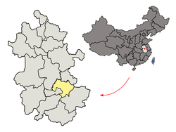 Location of Wuhu City jurisdiction in Anhui