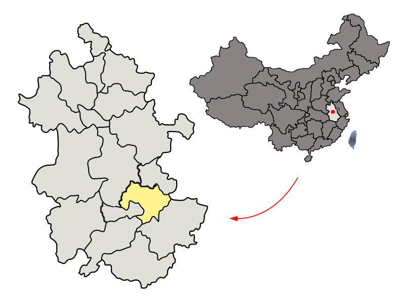 Location of Wuhu in Anhui