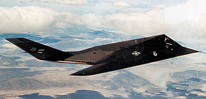 415th Special Operations Squadron - 4450th Tactical Squadron Lockheed F-117A Nighthawk 81-10796 in flight, 1990