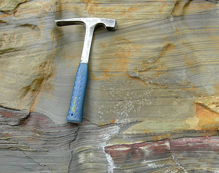 Cross-bedding and scour in a fine sandstone; the Logan Formation (Mississippian) of Jackson County, Ohio Logan Formation Cross Bedding Scour.jpg