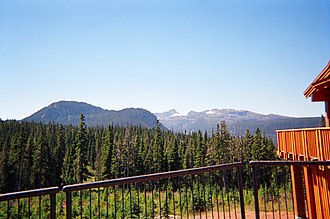 Forbidden Plateau - Looking southeast across the Plateau from the Mount Washington Nordic Ski Lodge. Mount Brooks is in the left foreground, Mount Albert Edward is the peak in the center background.