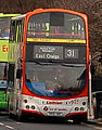 Lothian Buses bus 767 Volvo B7TL Wrightbus Eclipse Gemini SN56 ABZ Harlequin livery Route 31 Ace of Spades route branding.jpg