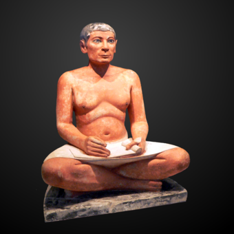 The Seated Scribe from Saqqara, Fifth dynasty of Egypt; scribes were elite and well educated. They assessed taxes, kept records, and were responsible for administration. Louvre-antiquites-egyptiennes-p1020372 Cropped and bg reduced.png