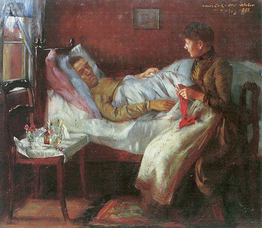 Lovis Corinth Vater Franz Heinrich Corinth auf dem Krankenlager 1888