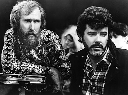 Henson and producer George Lucas working on Labyrinth in 1986 Lucas - Henson - 1986.jpg